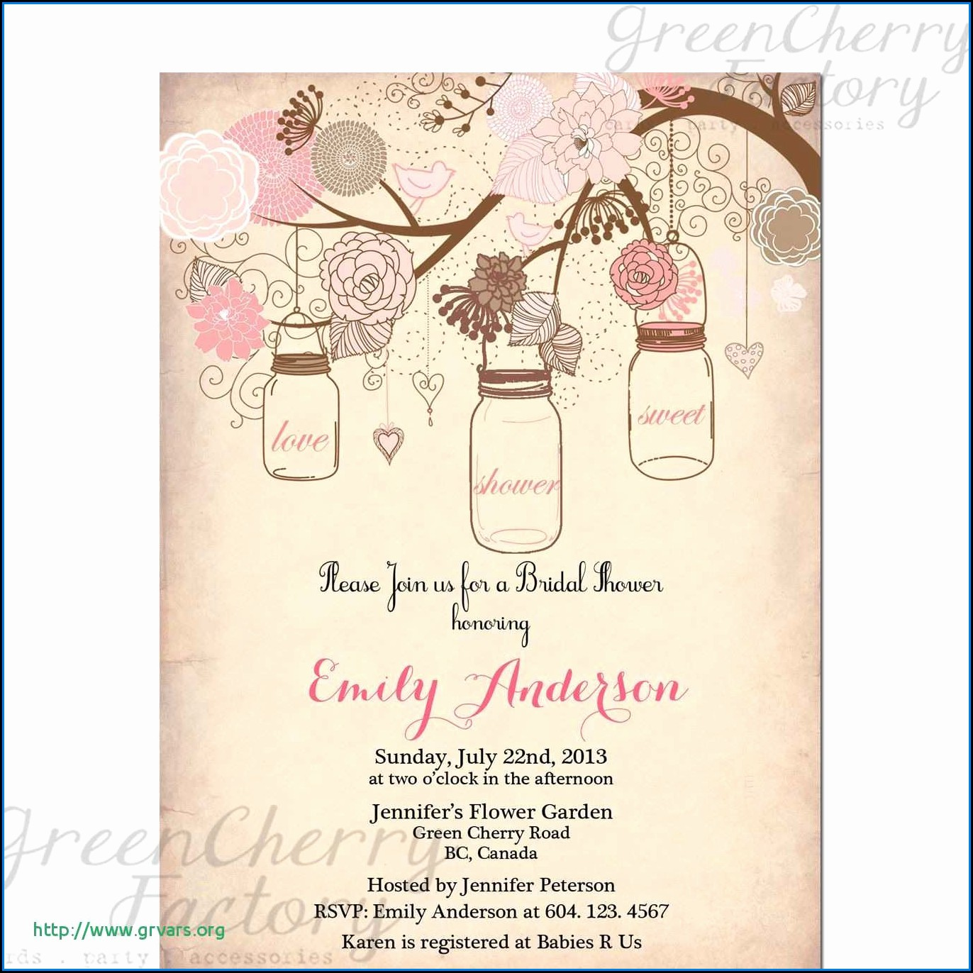 Mason Jar Baby Shower Invitation Template