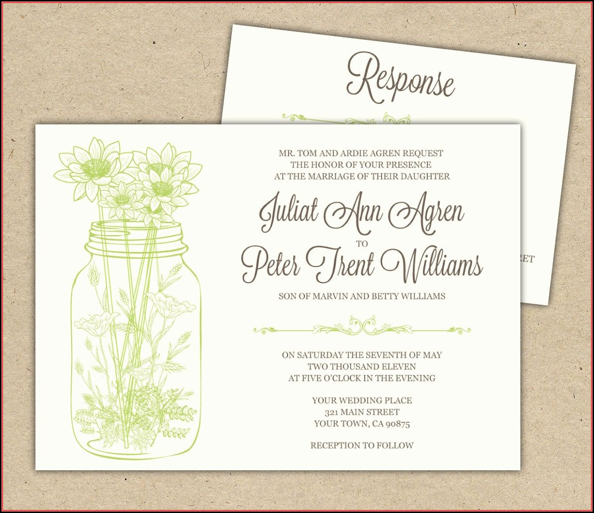 Mason Jar Wedding Invitation Template Free