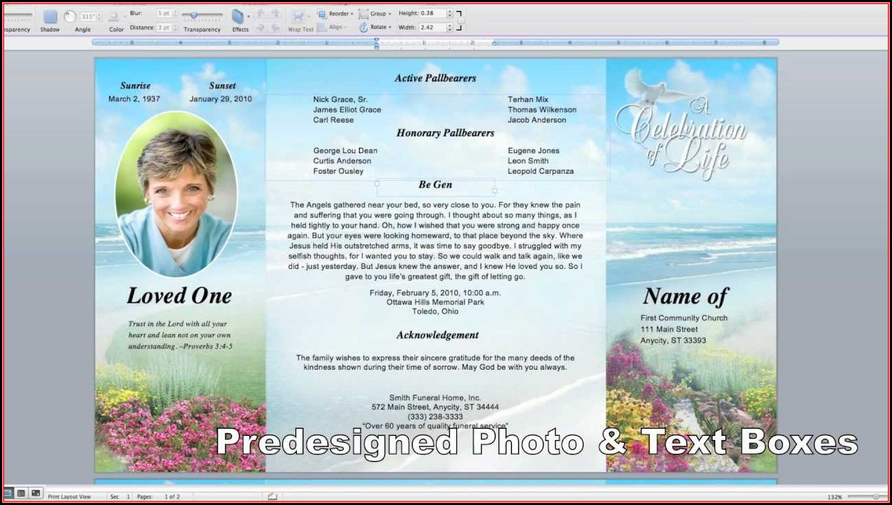 Memorial Card Template Microsoft Word Free