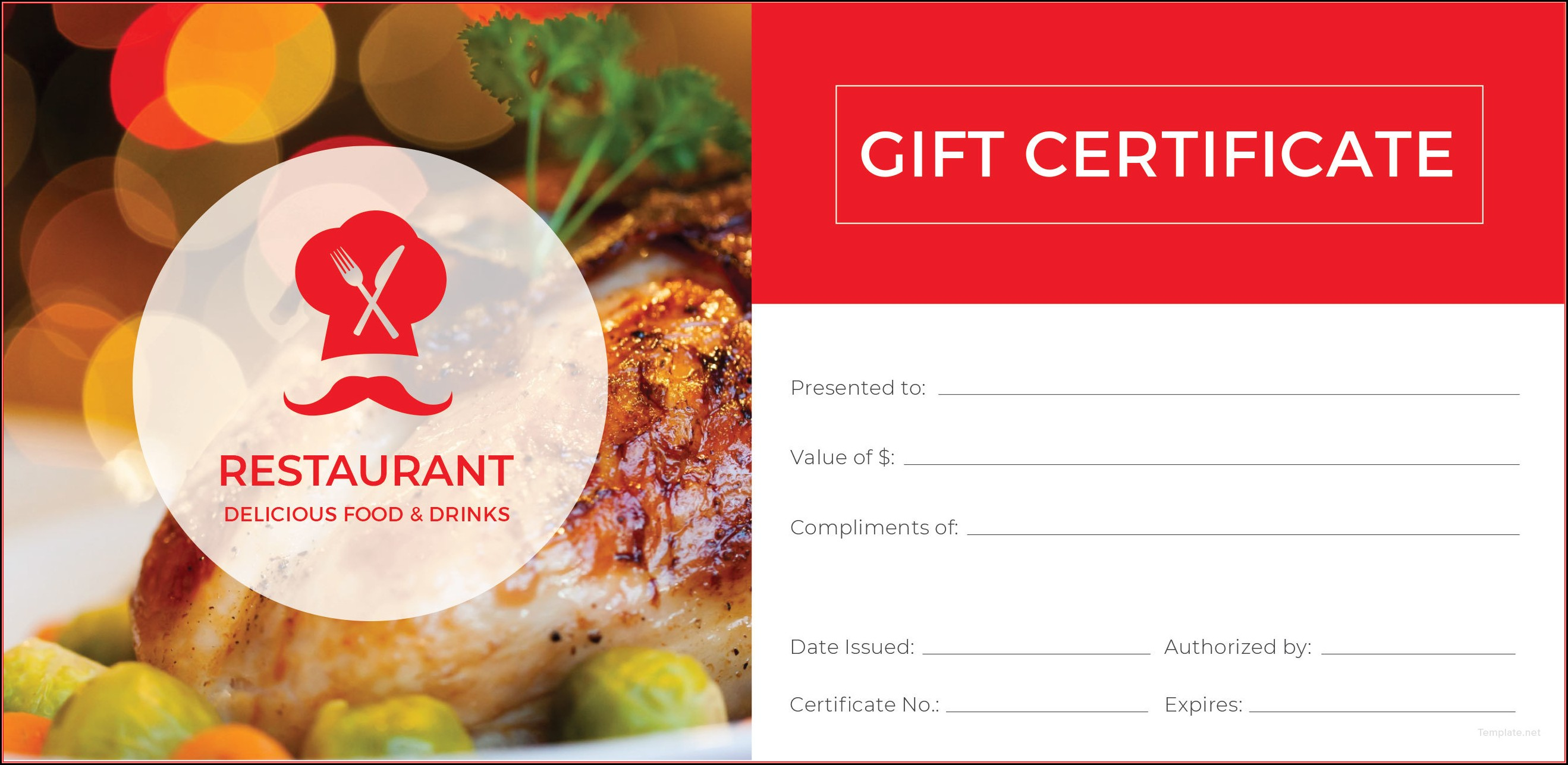Mexican Restaurant Gift Certificate Template