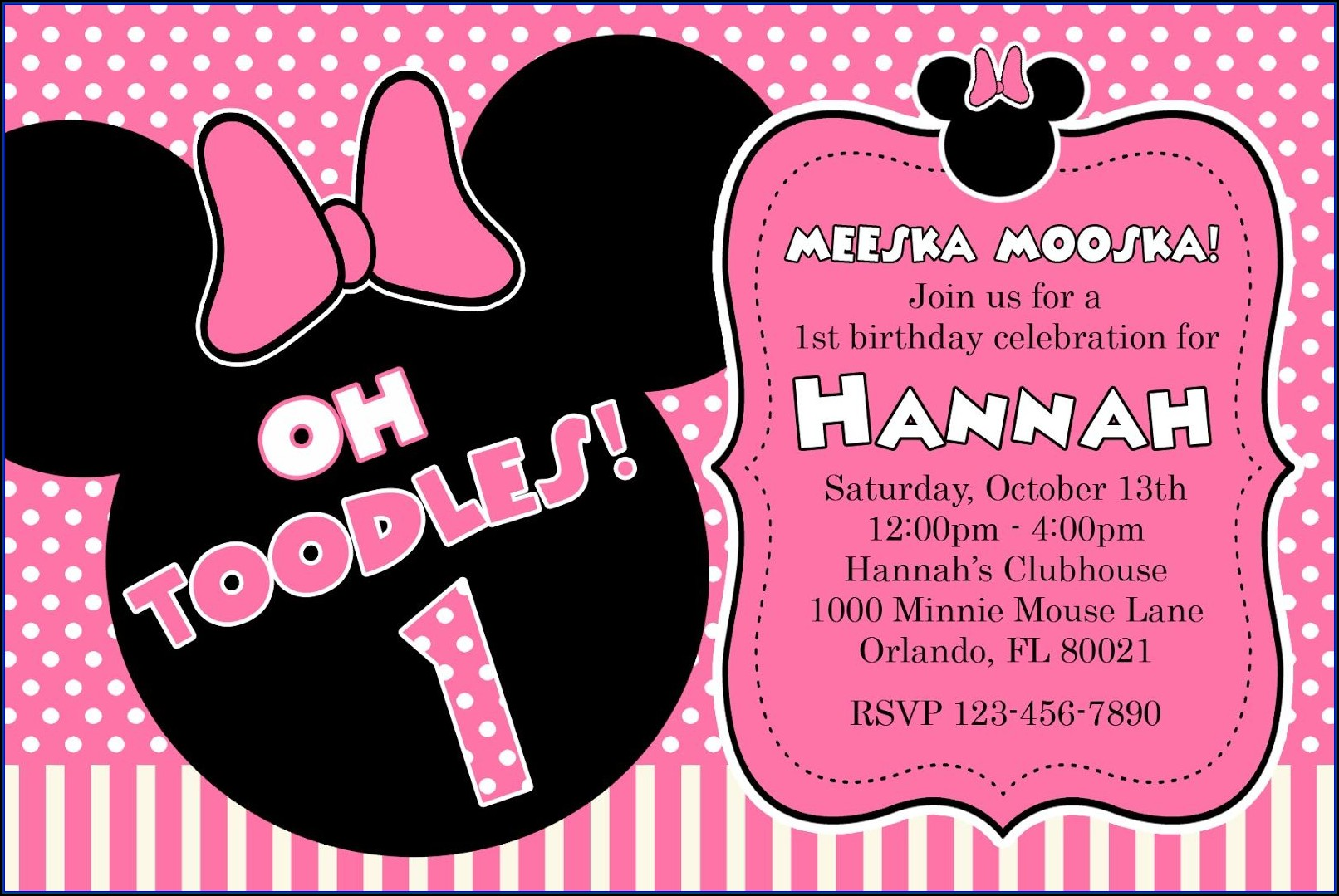 Minnie Mouse Invitation Template Free Download