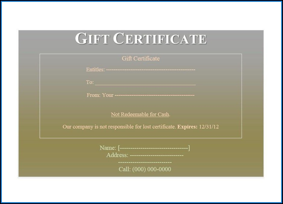 Movie Gift Certificate Template Word