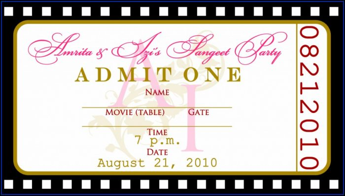 Movie Ticket Invitation Printable