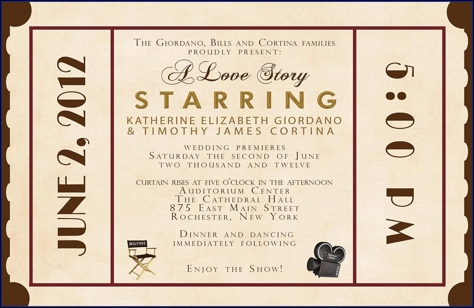 Movie Ticket Wedding Invitation Template