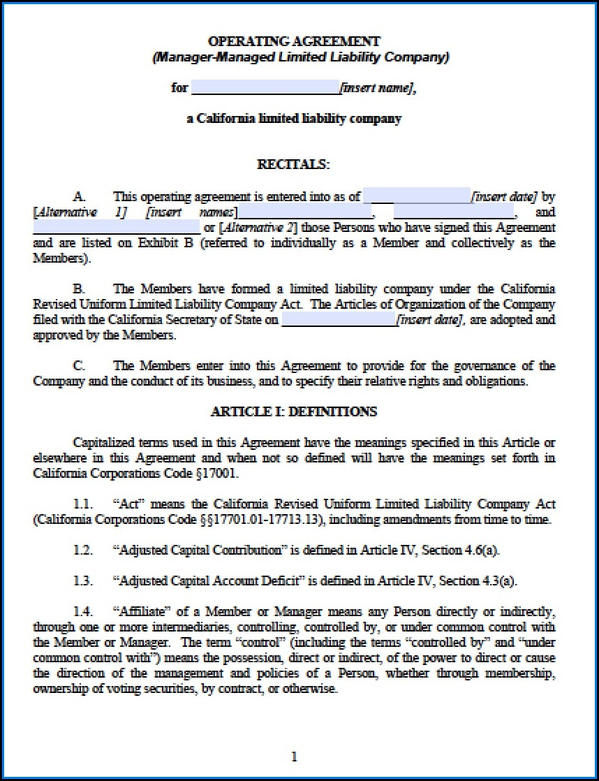 Multi Member Llc Operating Agreement Template