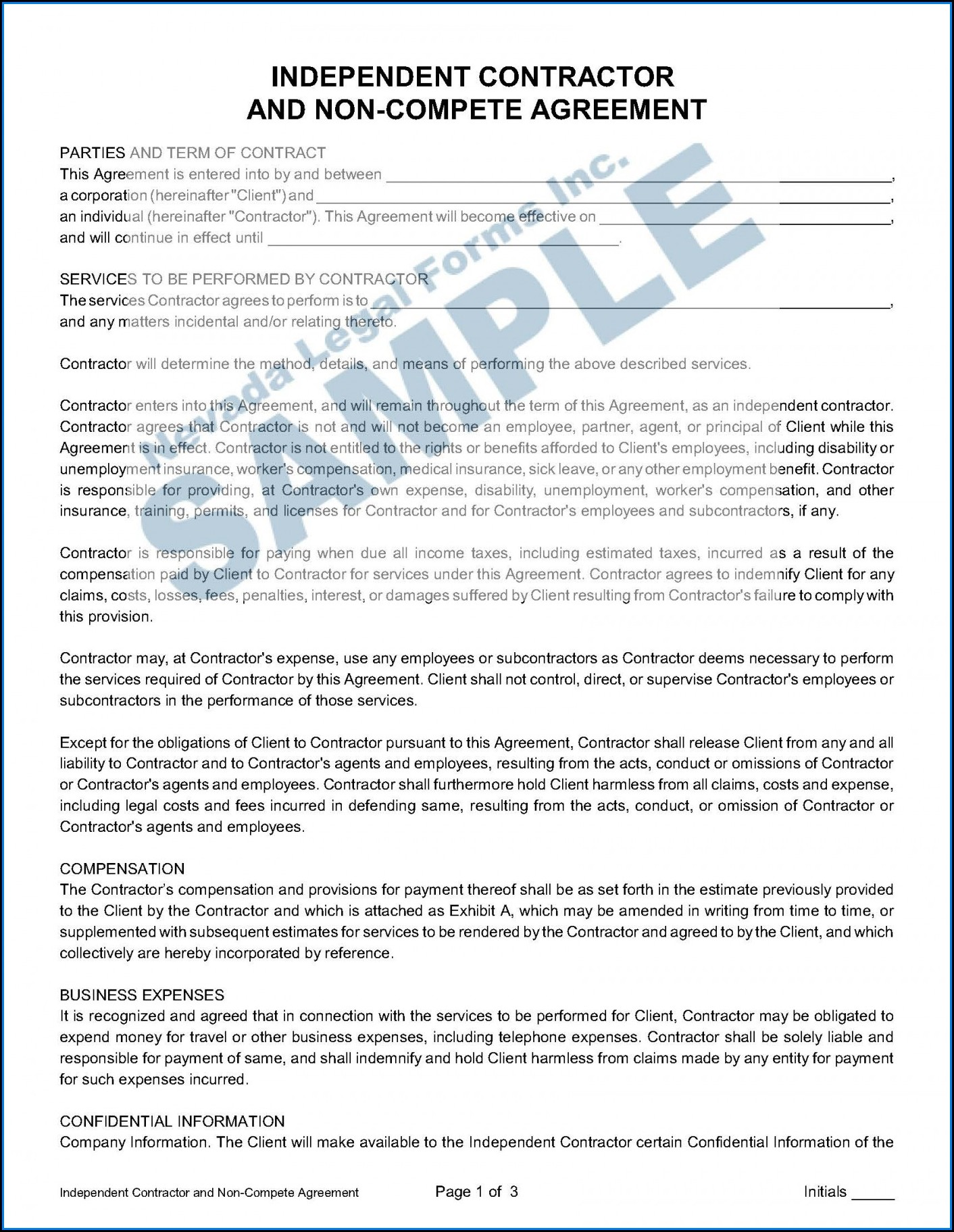 Non Compete Agreement Sale Of Business Template