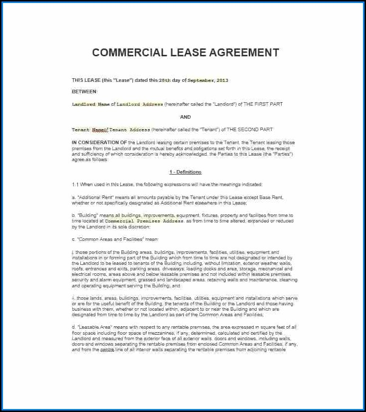 Nsw Commercial Lease Agreement Template Free Pdf