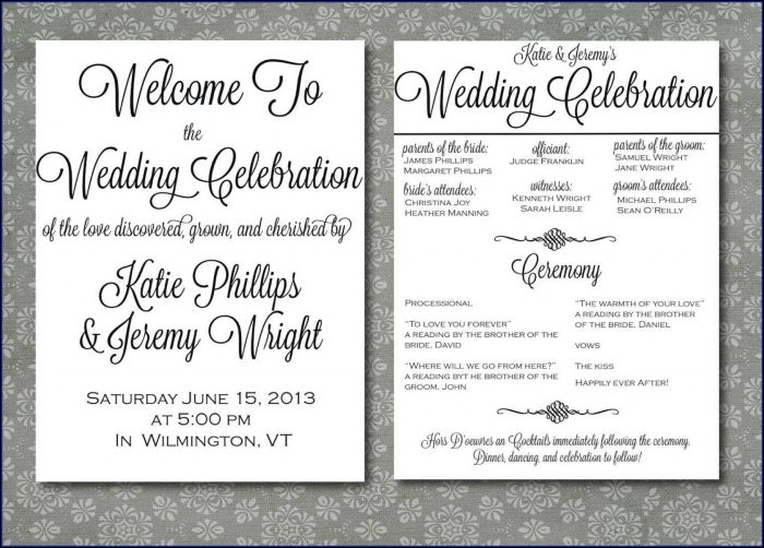 One Page Wedding Ceremony Program Template