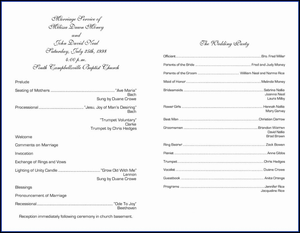 One Page Wedding Program Samples