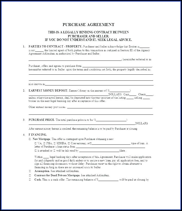 Owner Financing Land Contract Template