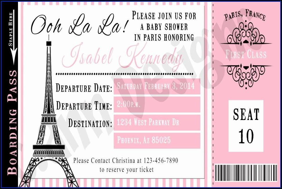 Paris Birthday Invitation Templates Free