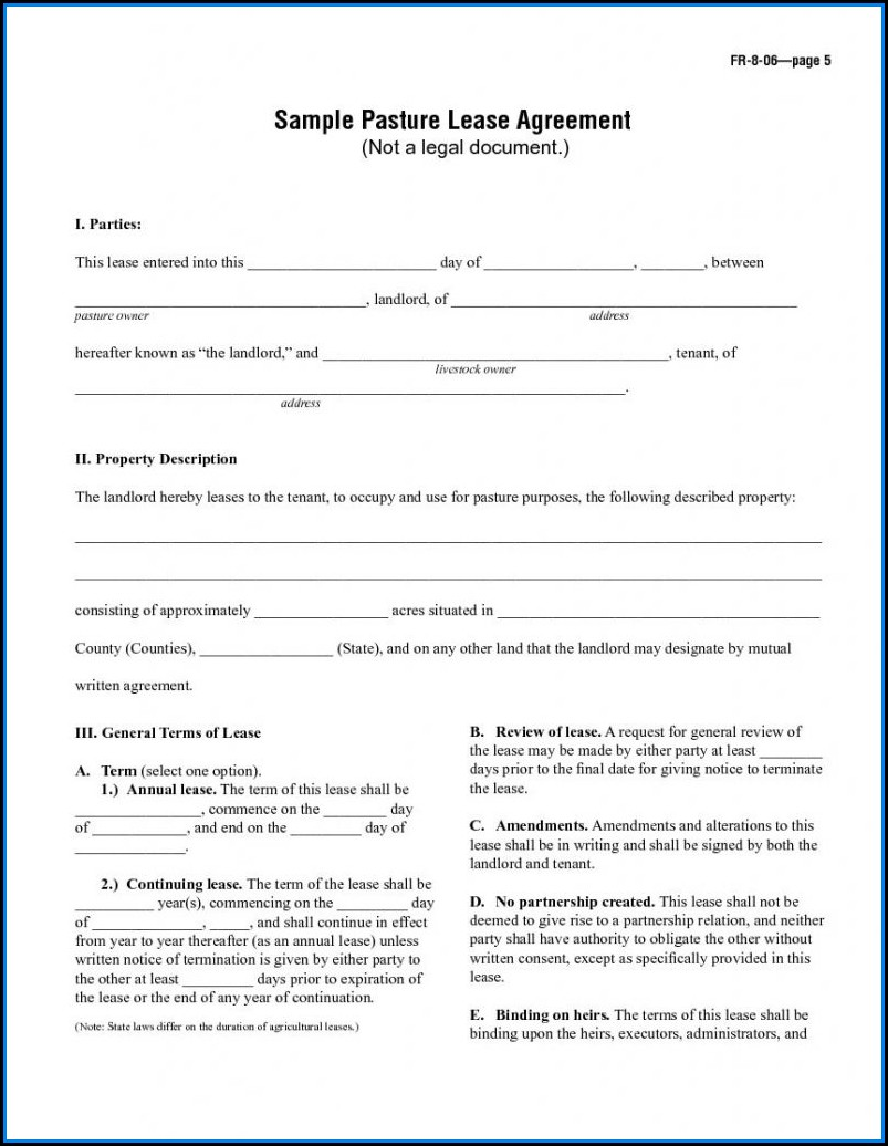 Pasture Rental Agreement Template
