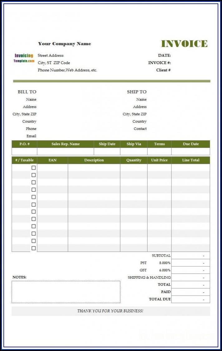 Personal Invoice Template Australia