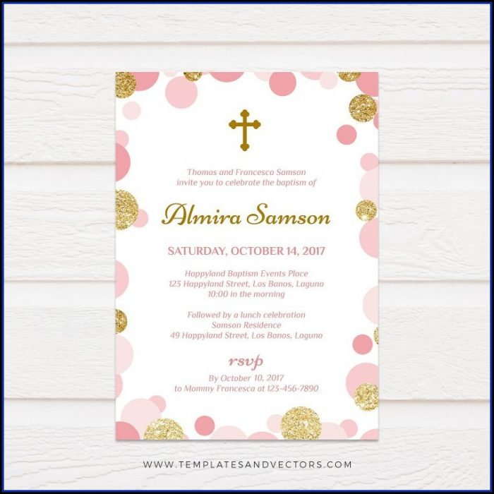 Pink And Gold Baptism Invitation Template