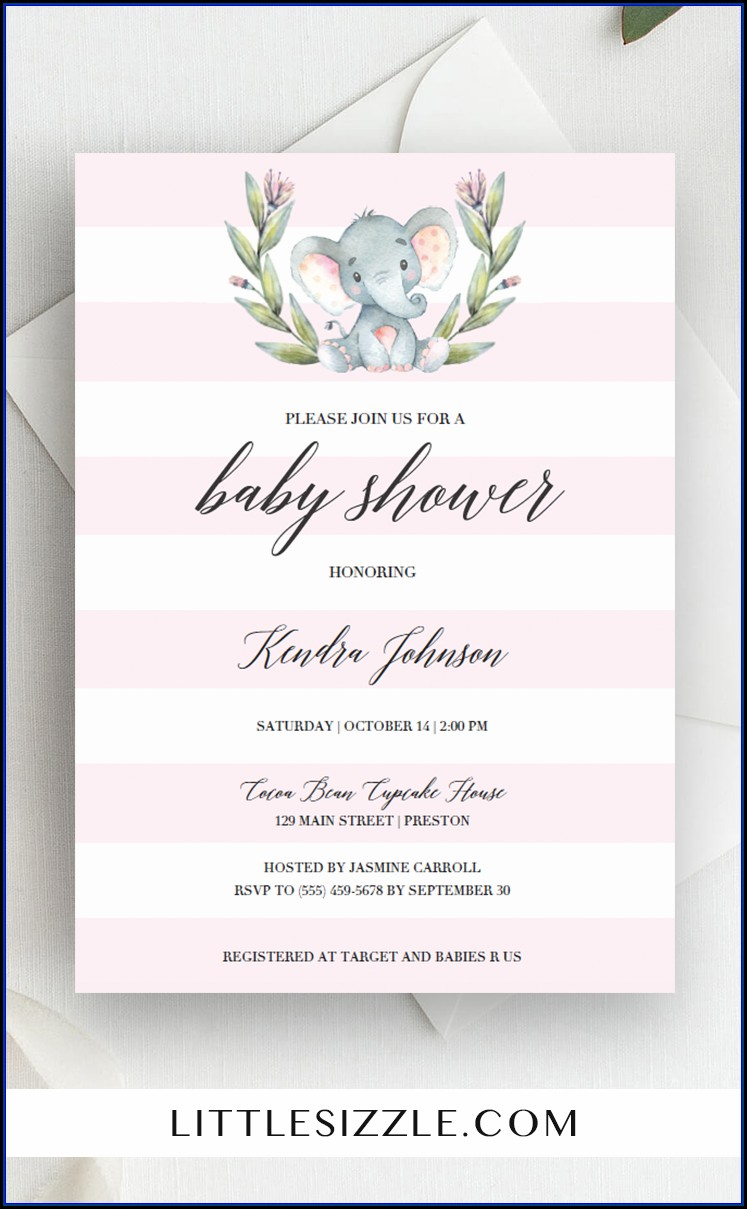 Pink Elephant Baby Shower Invitation Templates