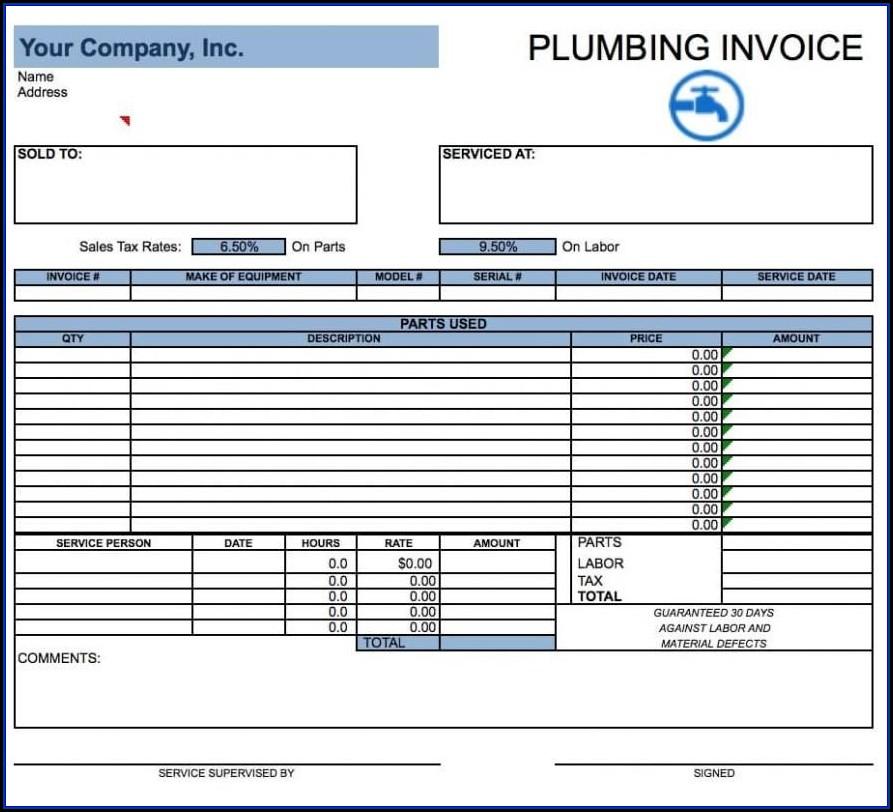 Plumbing Invoice Template Word