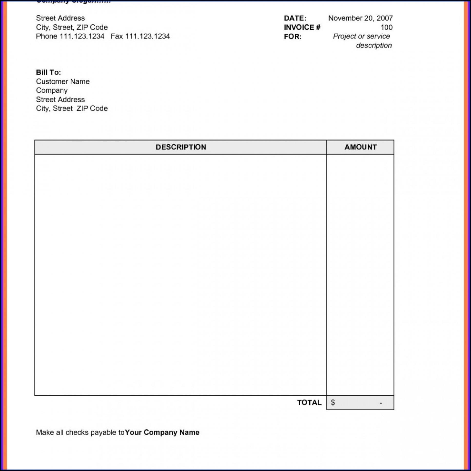 Plumbing Invoice Template Xls