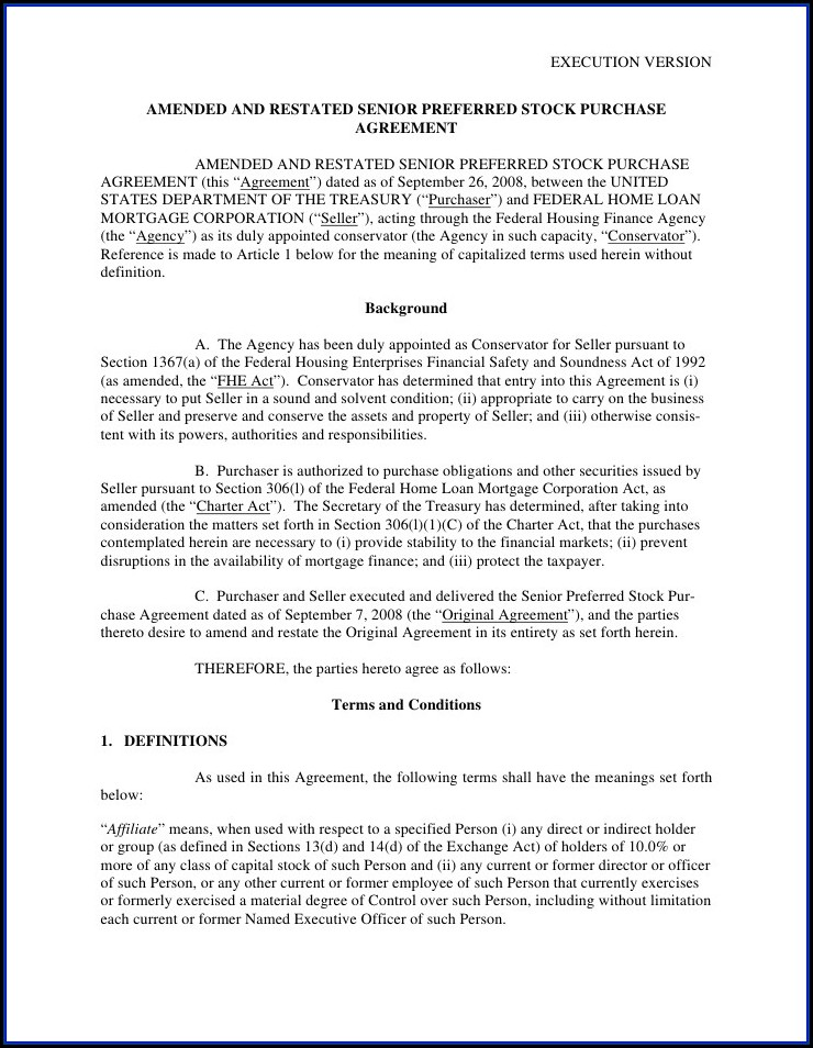 Preferred Stock Purchase Agreement Template