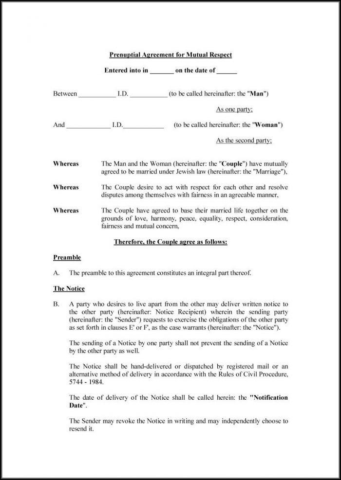 Prenuptial Agreement Florida Template
