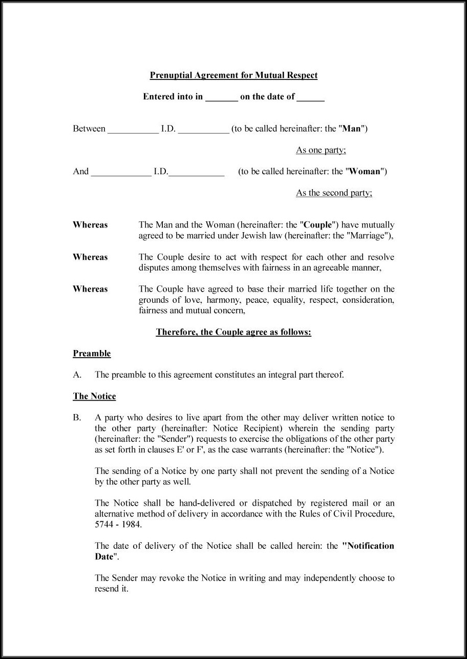Prenuptial Agreement Florida Template