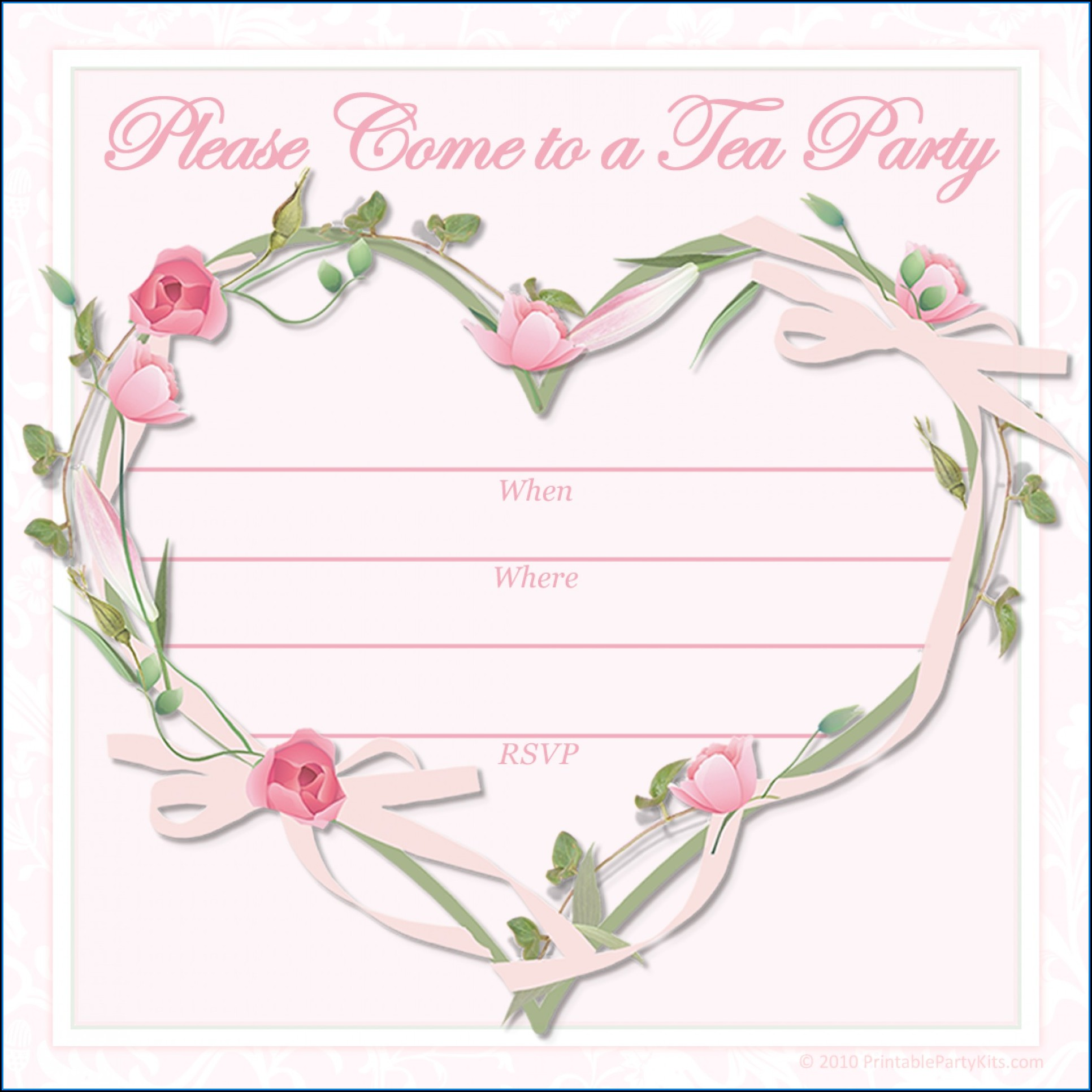 Princess Tea Party Invitation Template Free