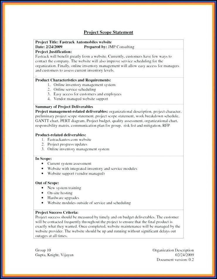 Project Management Scope Document Templates