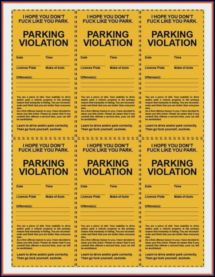 Prom Parking Ticket Template