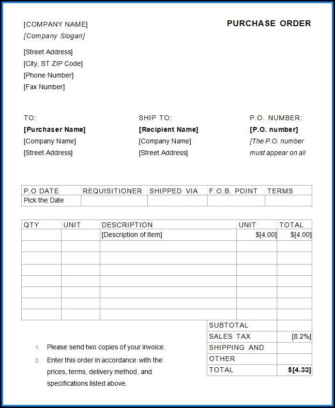 Purchase Order Template Excel Free Download