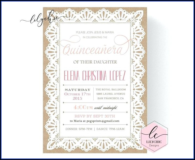 Quinceanera Invitation Samples In English