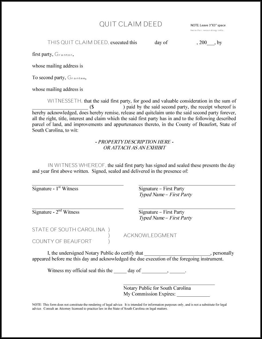 Free Printable Quit Claim Deed Forms Form Resume
