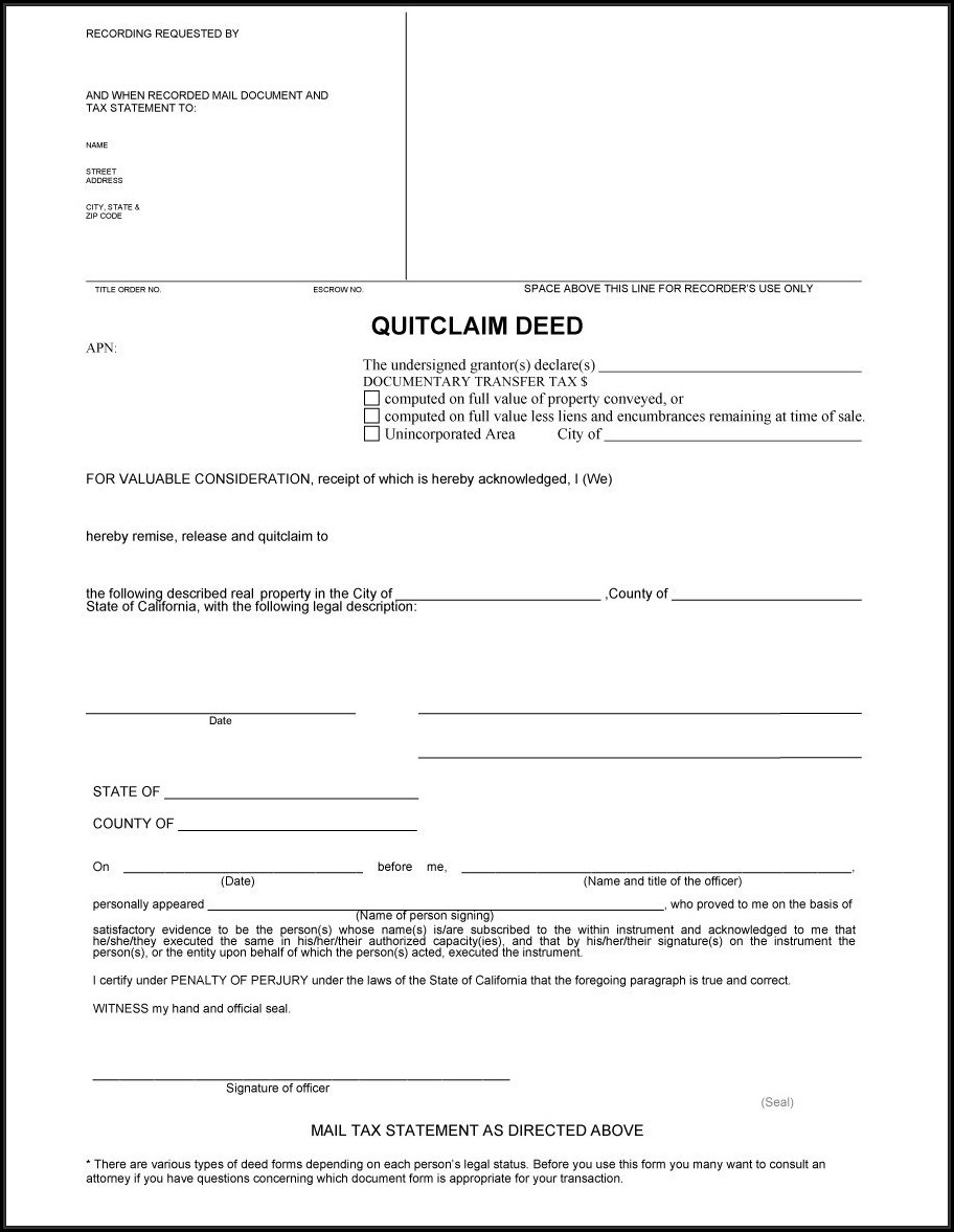 Quit Claim Deed Template