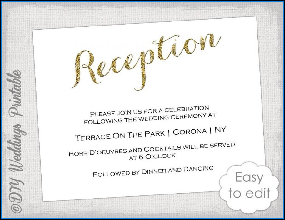 Reception Invitation Card Template