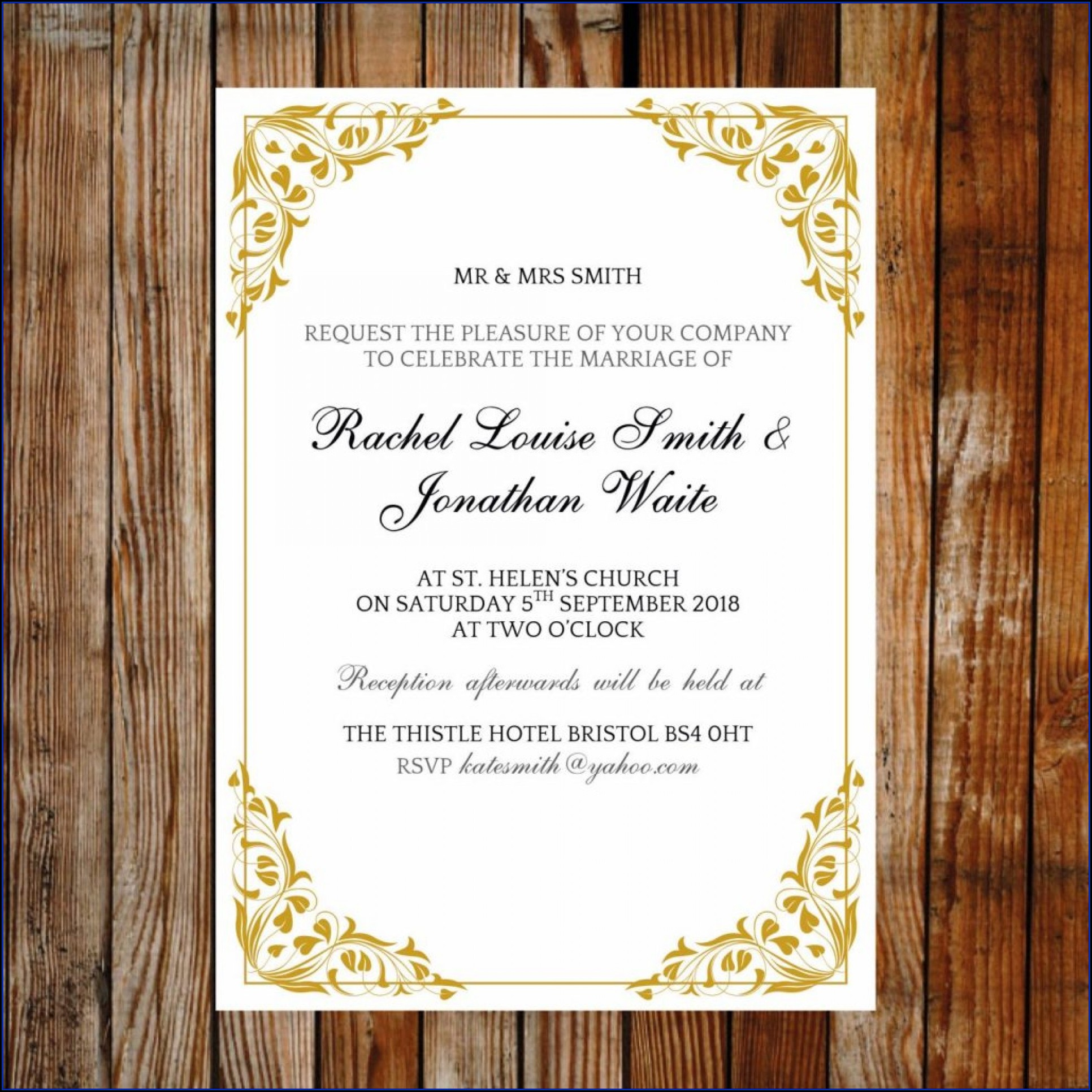 Reception Invitation Templates Free Download