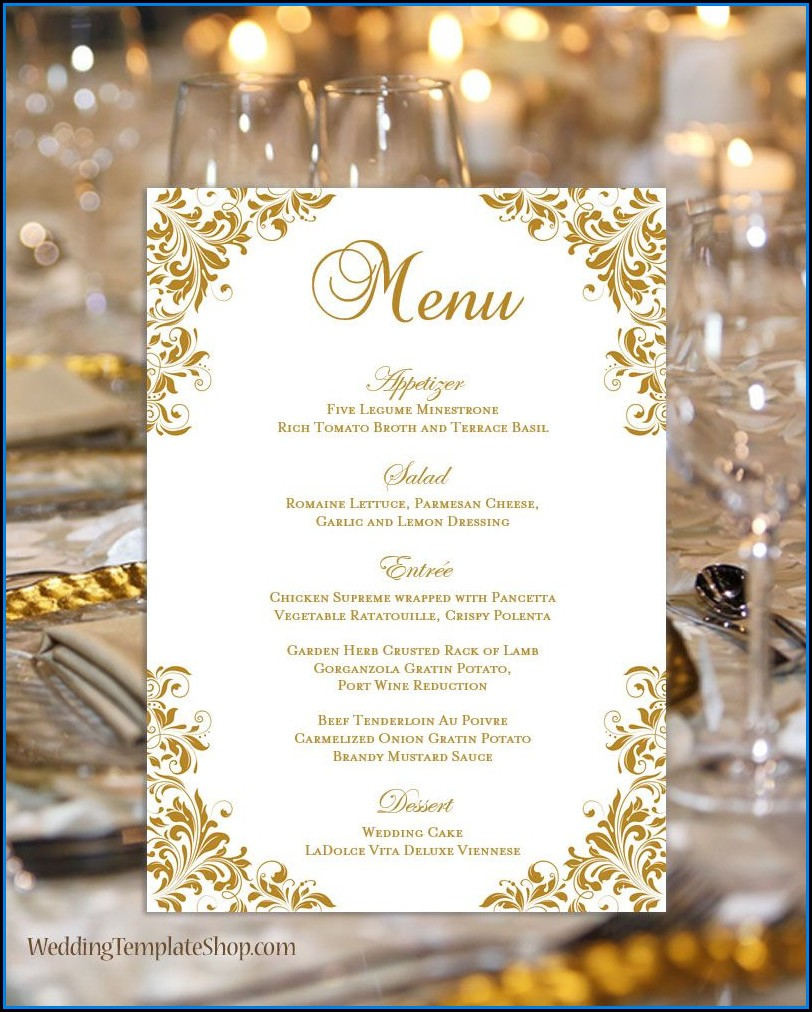 Reception Menu Card Template