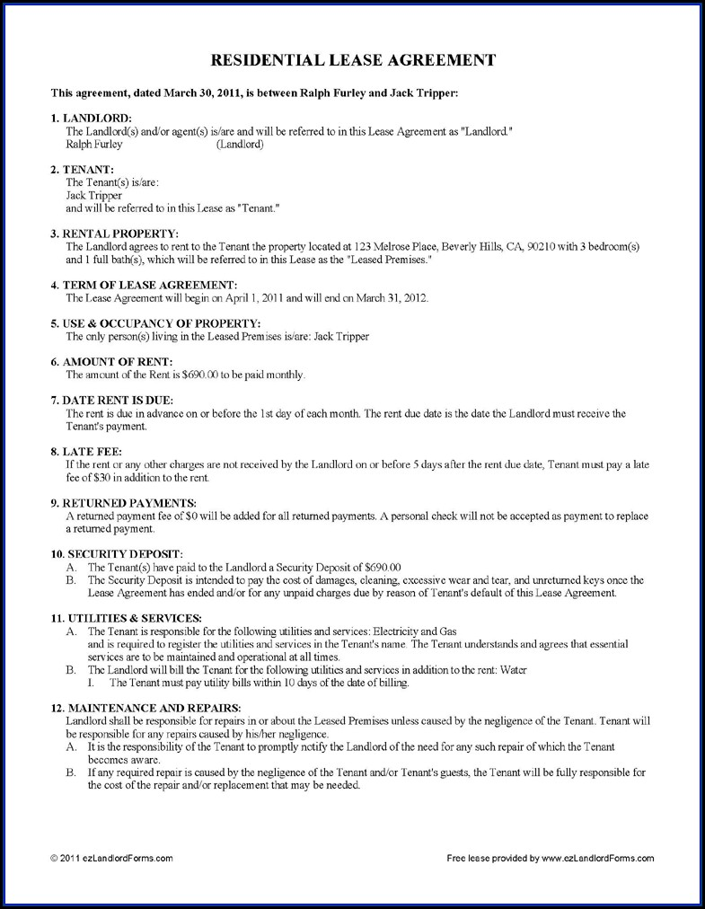 Rental Lease Agreement Template Free