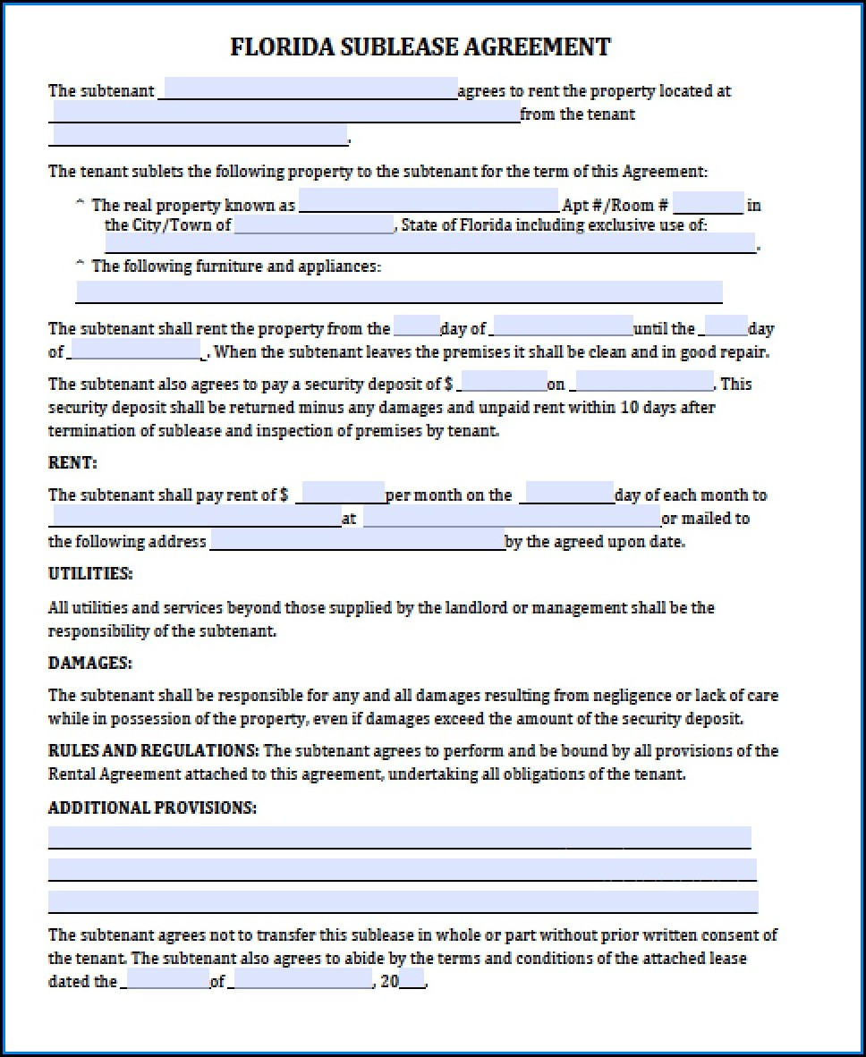 Residential Lease Agreement Template Florida