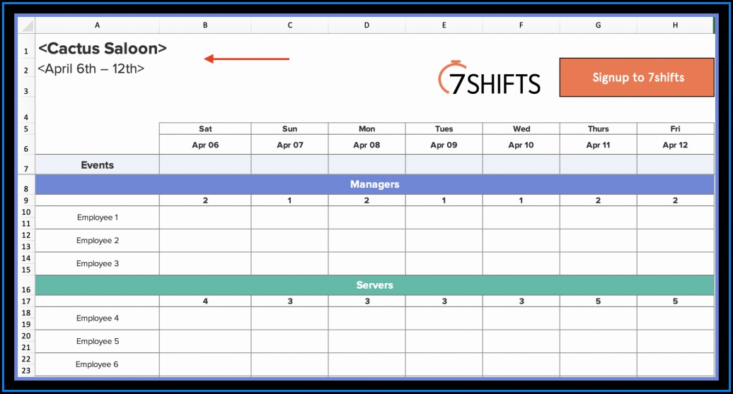 Restaurant Employee Schedule Template Free