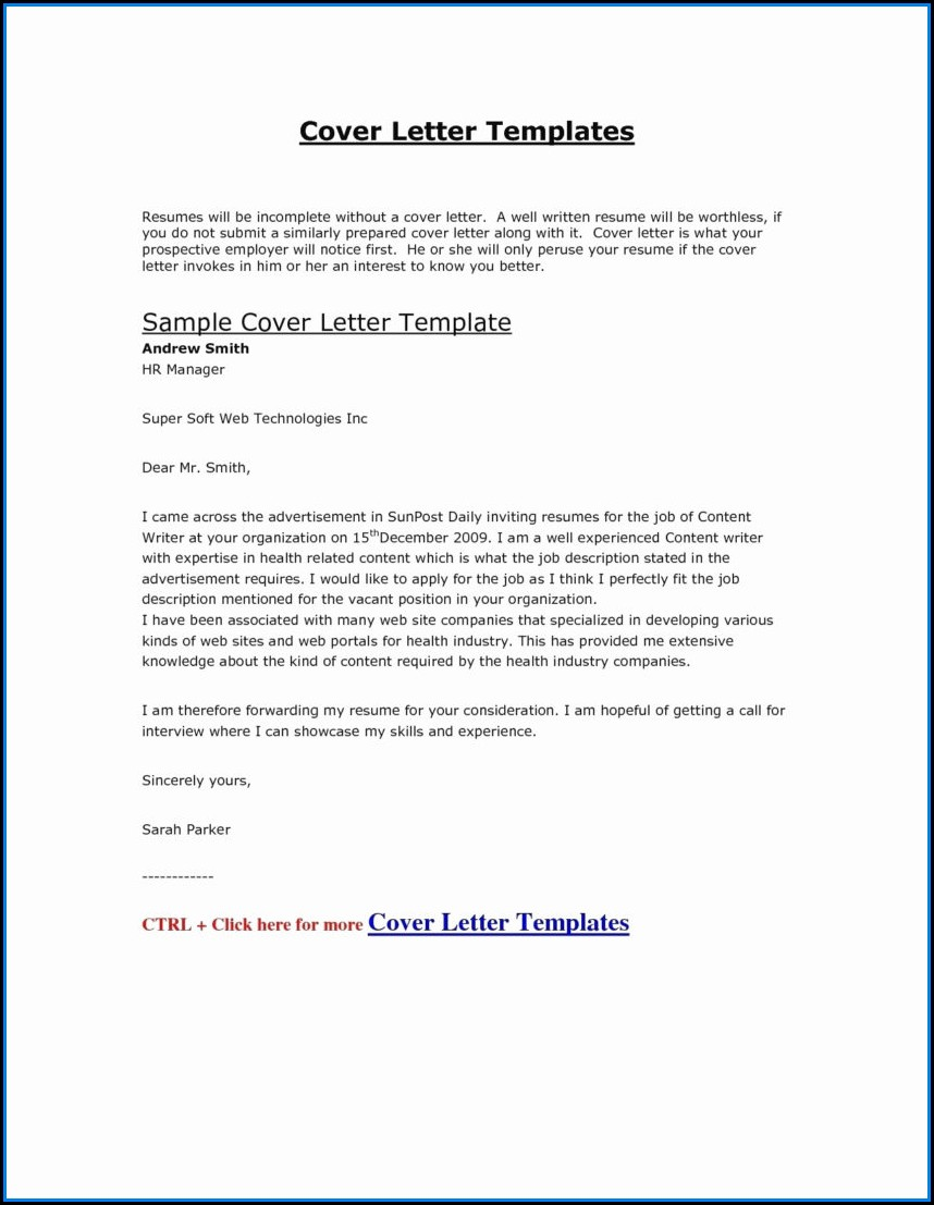 Resume Cover Letter Samples Free