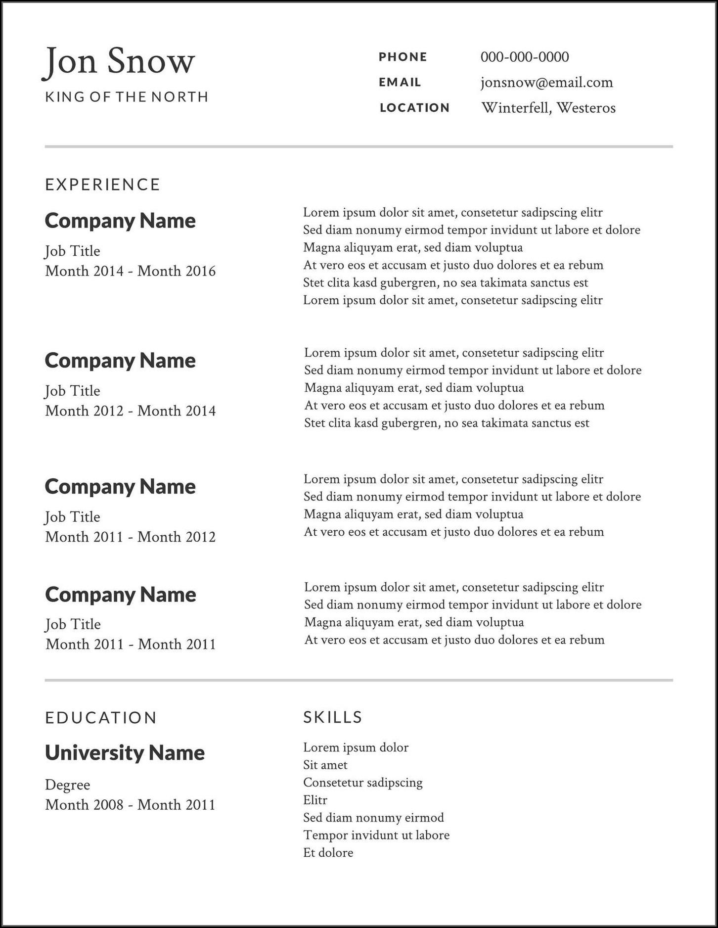 Resume Sample Templates Free