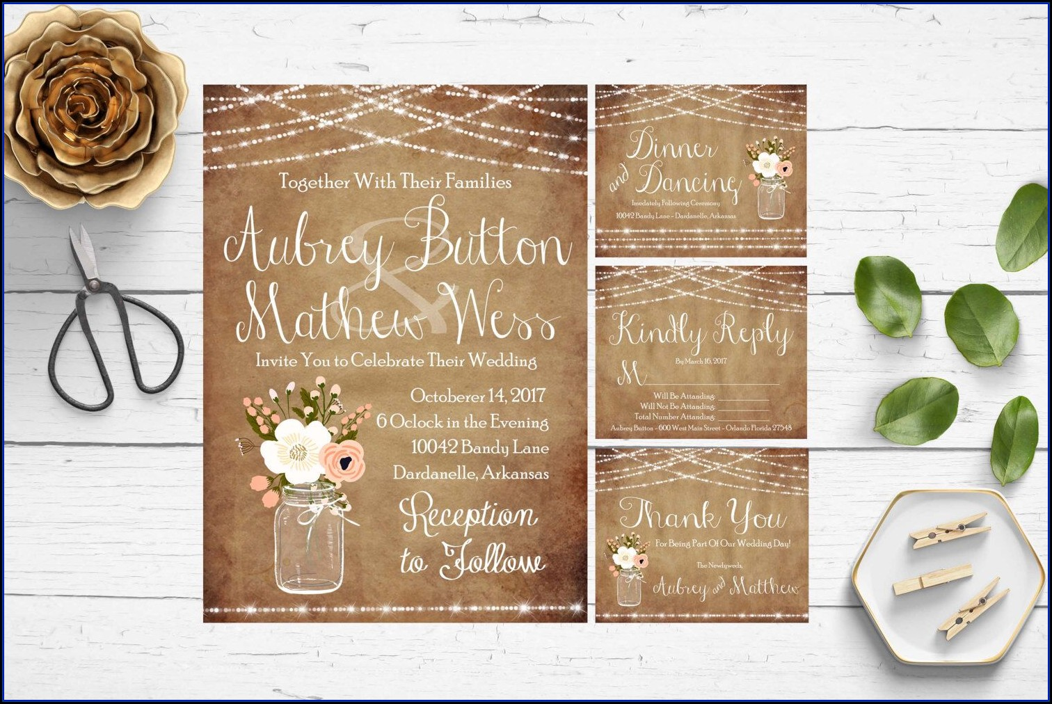Rustic Mason Jar Wedding Invitation Templates
