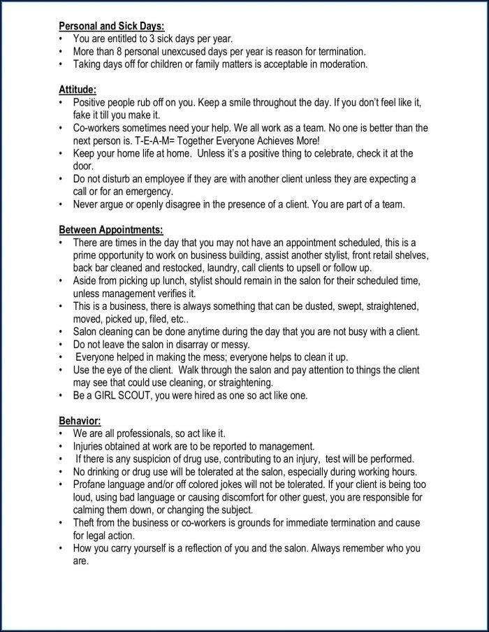 Salon Policies And Procedures Manual Template