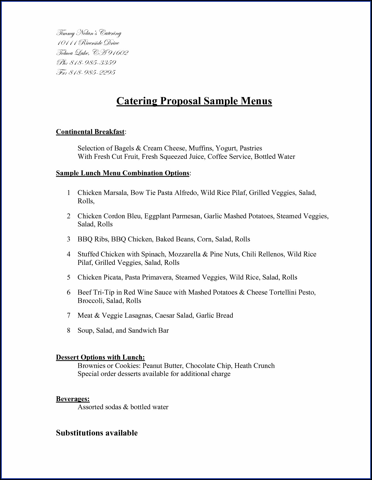 Sample Catering Proposal Template