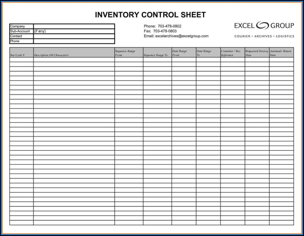 Sample Inventory Spreadsheet Templates