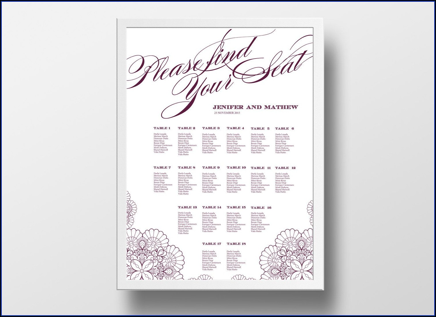 Seating Chart Card Template