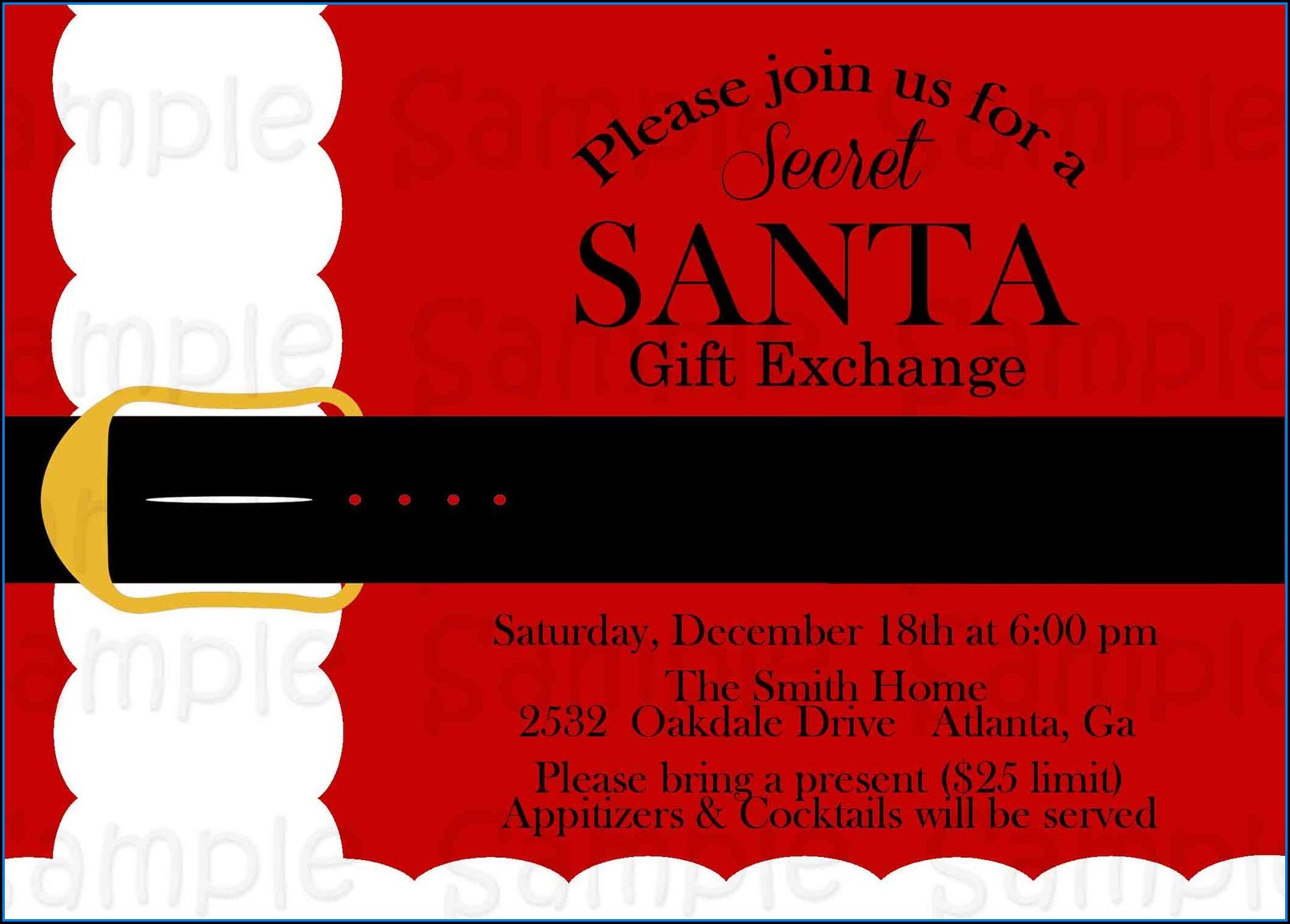 Secret Santa Invitation Template