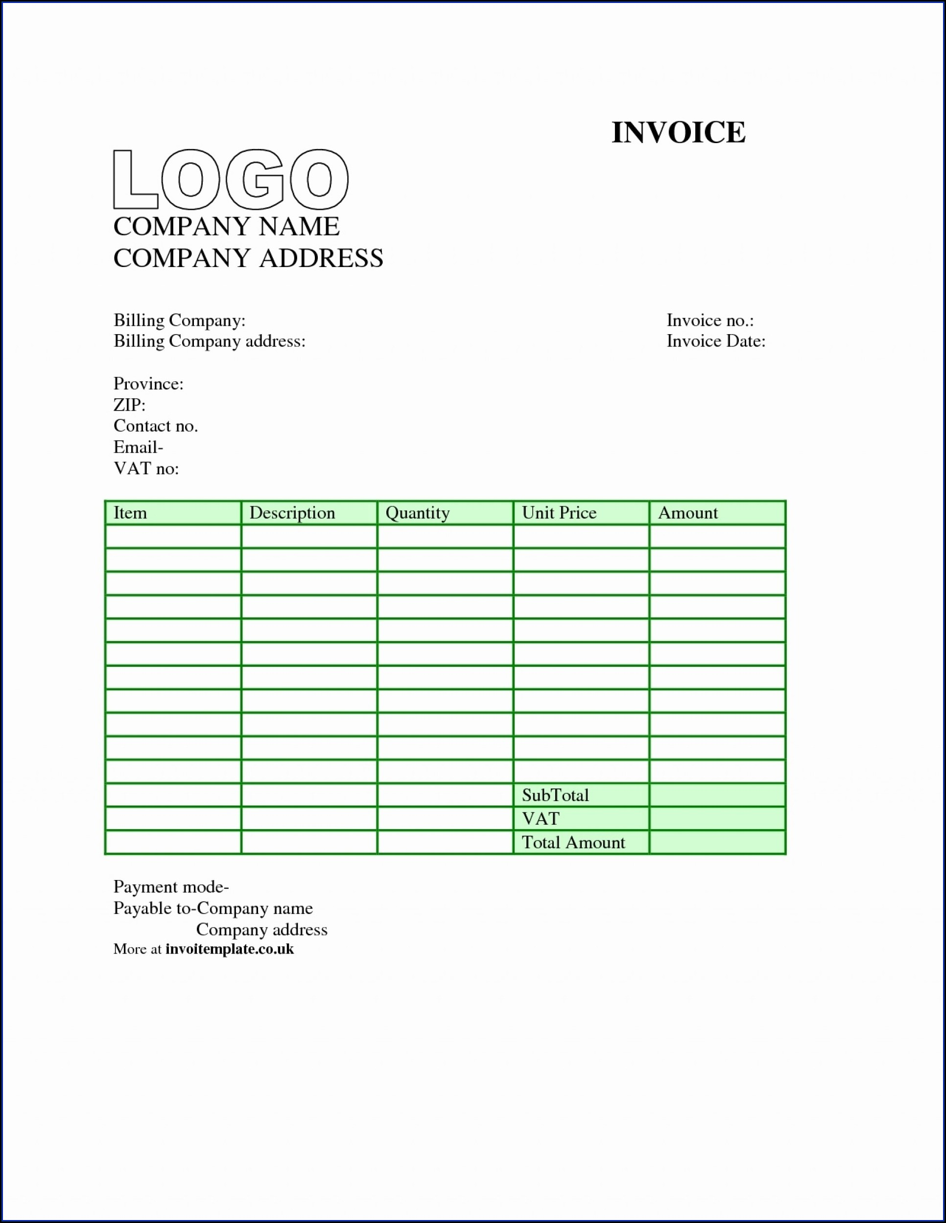 Self Employed Invoice Template Uk Excel