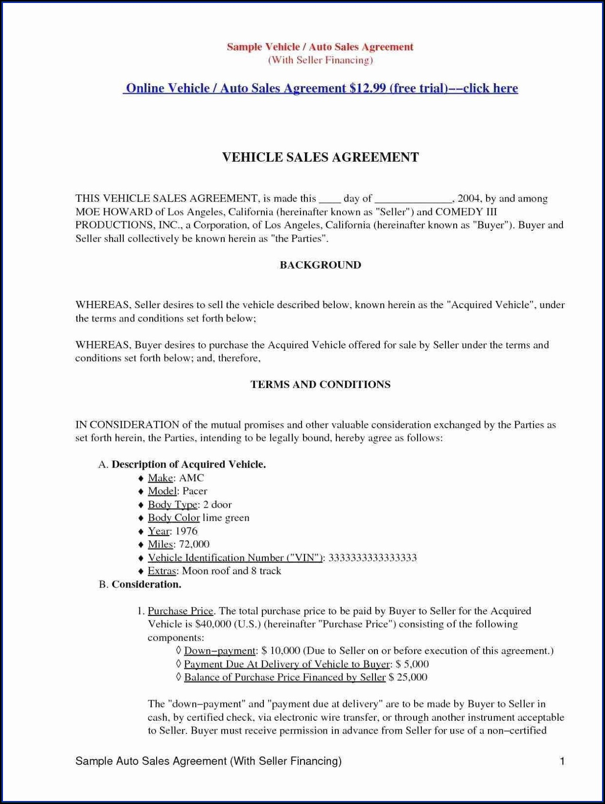 Seller Financing Contract Form