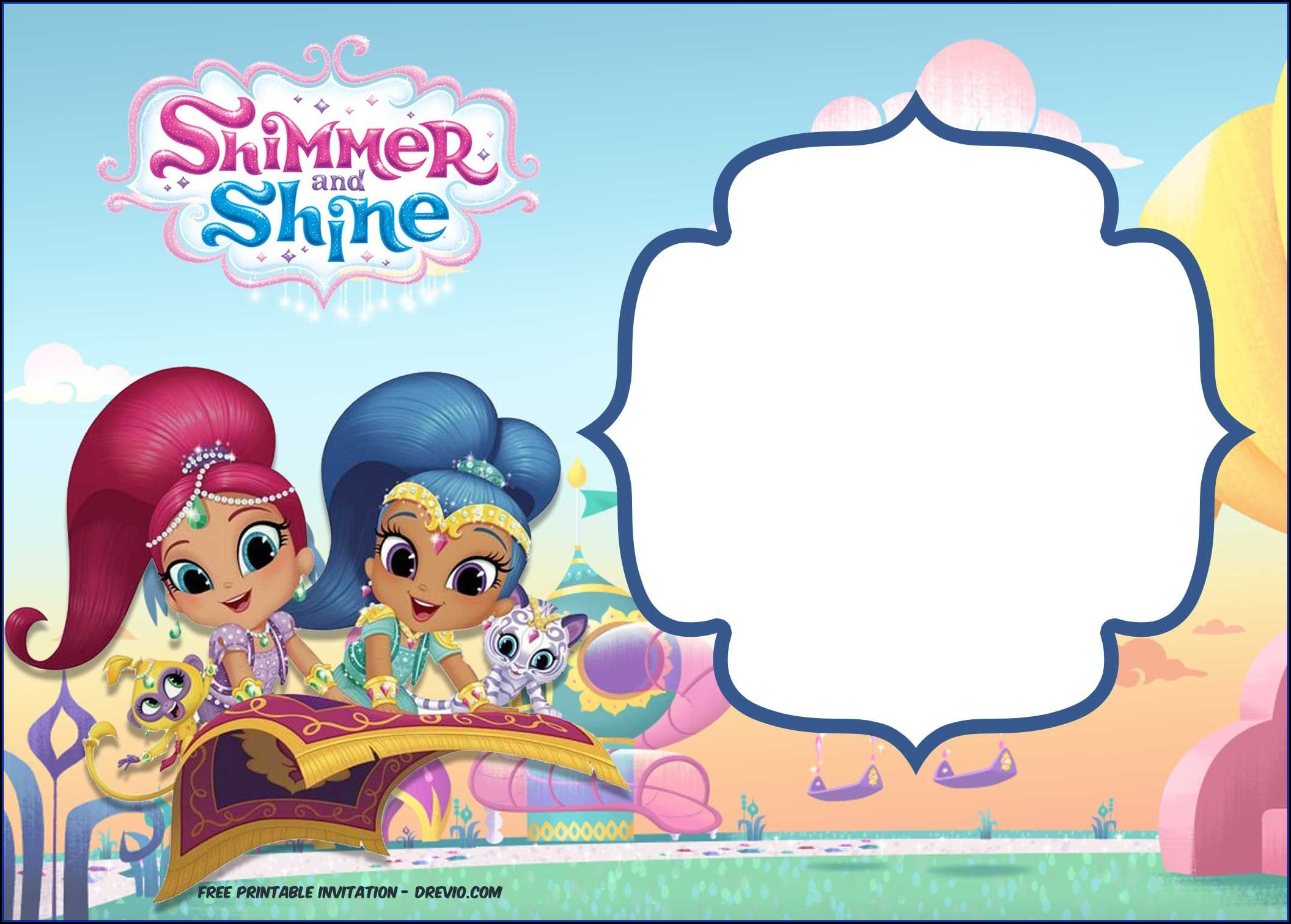 Shimmer And Shine Invitation Template Free