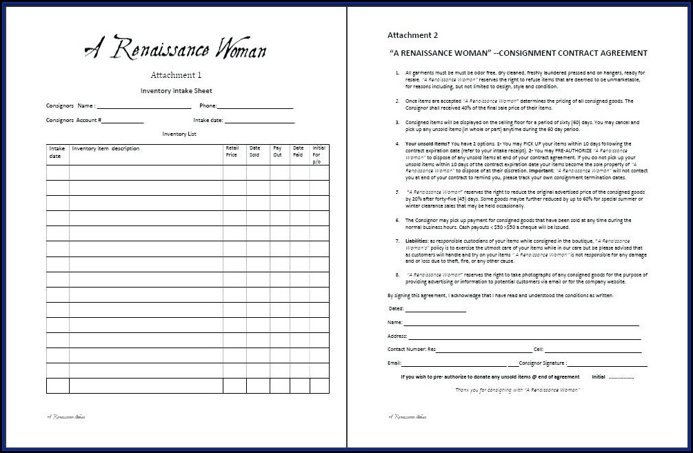 Simple Consignment Contract Template