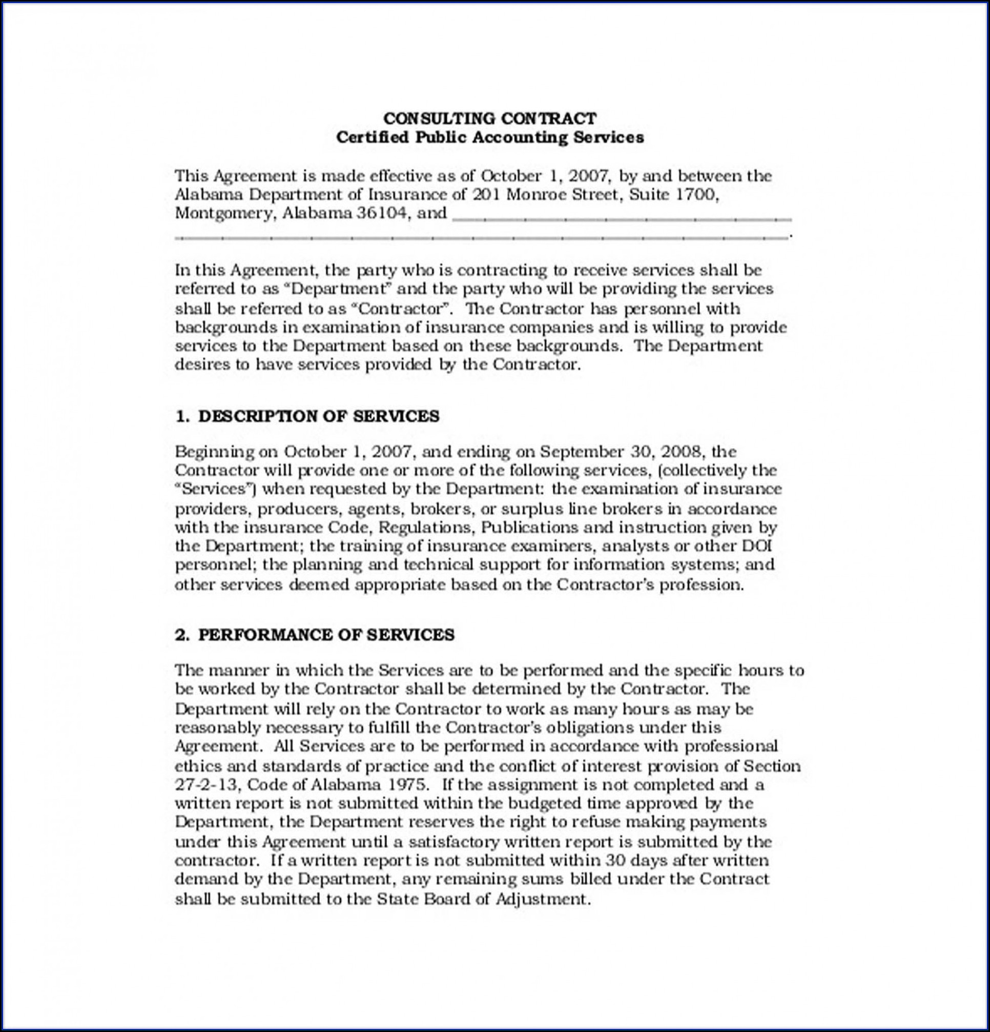 Simple Consulting Agreement Template Pdf